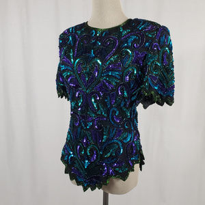 VINTAGE Turquoise and Purple Sequin Top by Laurenc